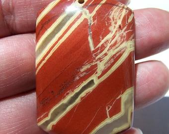 Red River Jasper pendant bead 47x30x6.5mm