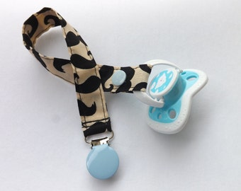 Snap Pacifier Clip-Mustache fabric. Baby boy pacifier clip/binky clip/pacifier holder.