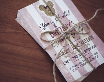 Minnie Mouse Classy Birthday Party 4x6 or 5x7 Custom Invitation - DIY - Print at Home or Order Prints - Classic - Modern - Pink and Gold