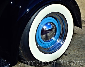plymouth whitewall photograph classic car tire hubcap instant download photo antique automobile sun reflection photography sunny