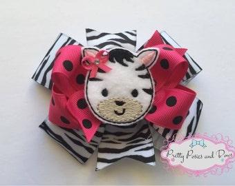 Zebra Hair Bow, Pink Zebra Hair Bow, Zebra Bow, Zebra Felt Clip
