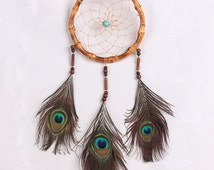Handmade Mini Natural Bamboo Circle Dream Catcher Peacock Feather Dream Catcher Wind Chimes Decor Home Car Decoration Craft Gift(H7038)