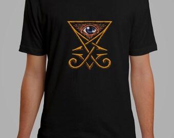 Illuminati symbol black t-shirty