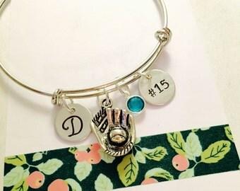 Softball Bracelet, Adjustable Bangle Bracelet, Personalized Softball Bracelet, Personalized Name Bracelet, Girls Bracelet, Teen Bracelet