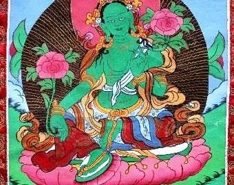 TANGKA TARA green Buddha dorje meditation wisdom zen dharma Buddhist painting support