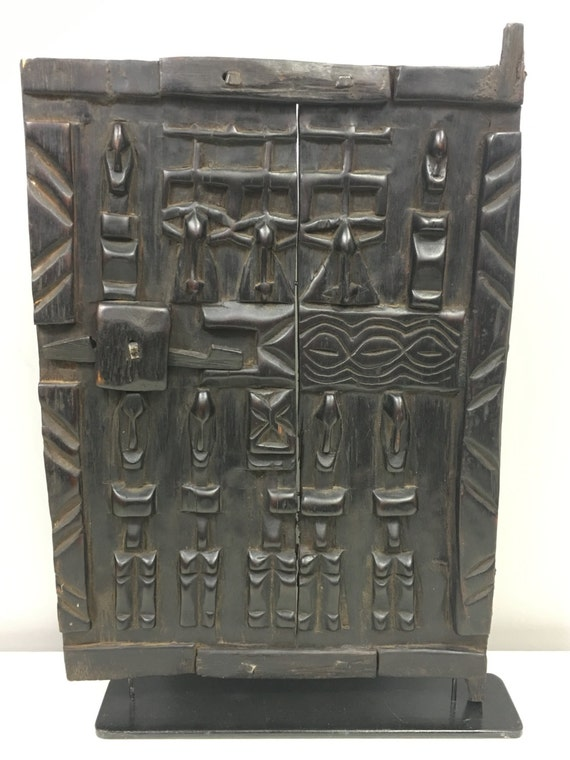African Door Carved Wood Dogon Mali Handmade Granary door Storage Animals Birds Face Wealth Status Door