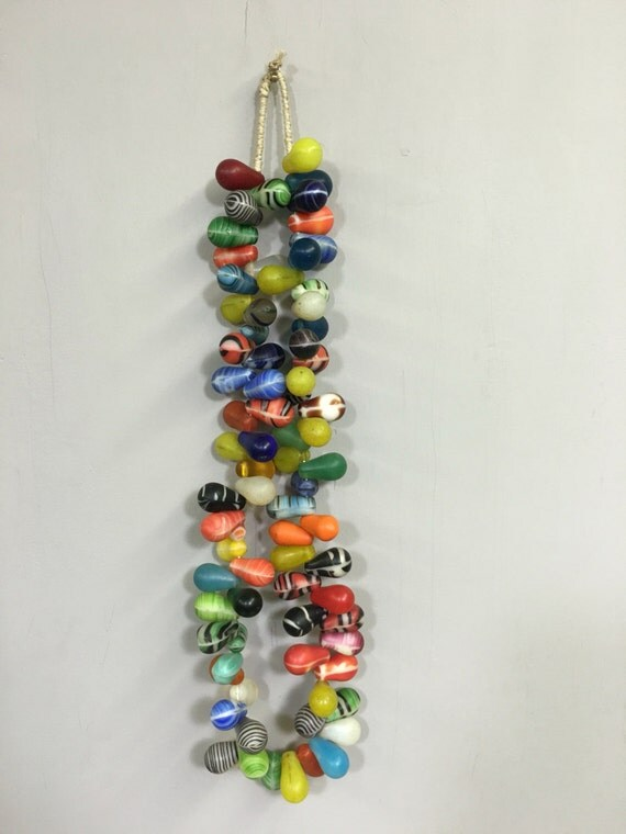 African Beads Wedding Colorful Bead Strand Handmade Red Yellow Blue African Glass Wedding Beads Necklace Gift for Her Jewelry Making Fun
