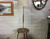 Image of 1960s standard lamp with occasional table, mid century retro standard lamp Formica table
