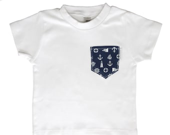 White Tee with Navy Nautical Pocket - Australian Clothing for Baby Boys - Sydney, Australia