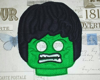 Lego INCREDIBLE HULK inspired mask in the hoop Project ith Embroidery Design Costume, Cosplay, Fancy dress, Masquerade, Photo booth, Prop.