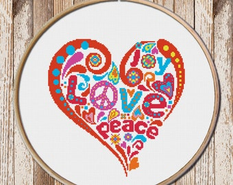 Heart Cross Stitch Pattern, modern cross stitch, easy cross stitch, Valentine's day, joy cross stitch pattern, Joy-Love-Peace stitch pattern