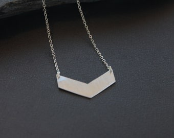 "Silver Chevron Necklace. ""Chevron Necklace - Large"""