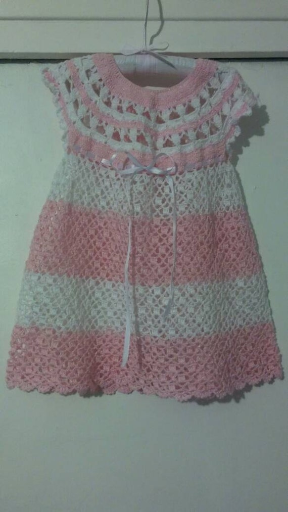 White and Pink Crocheted Baby Girl Dress