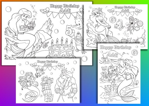 Ariel Birthday Coloring Pages : Ariel coloring pages mermaid birthday party by
