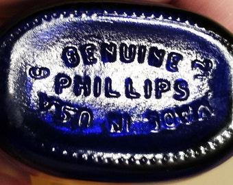 Vintage Phillips Milk of Magnesia Bottle in Cobalt Blue