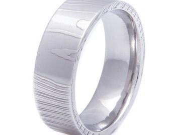Men's Flat Profile Damascus Steel Wedding Ring
