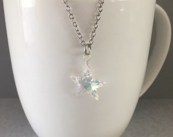 Swarovski crystal necklace, star necklace, swarovski crystal star, star swarovski crystal, star pendant,