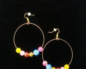 Multicoloured Hoop Drop Earrings
