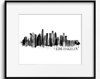 Los Angeles Watercolor Skyline Black and White Art Print (237) Cityscape California
