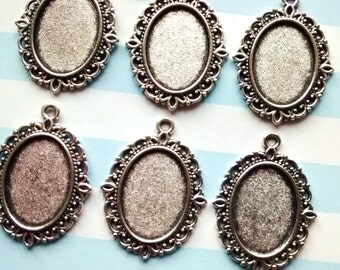 5 pieces Antique silver 18mm long x 13mm wide cabochon mount settings - decoden - jewellery making - pendants and charms glue on cab