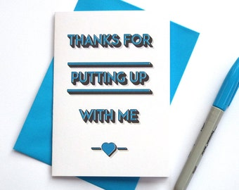 Funny Valentines Day Card, Cheeky Valentines Card, Boyfriend Valentines Card, Girlfriend Valentines Card, Thanks For Putting Up With Me