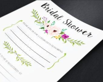 Floral Bridal Shower Printable Fill in the blank invitation