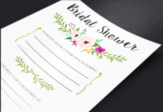 Floral bridal shower printable fill in the blank invitation for Bridal shower fill in invitations