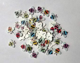 10 Wooden Little  Bees Buttons - #SB-00193