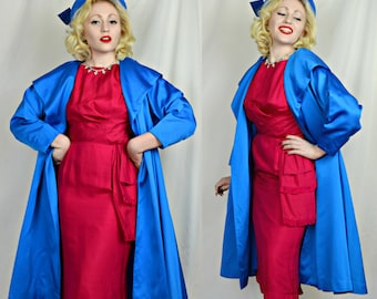 Vintage 1950's Cobalt Blue Swing/Duster Coat