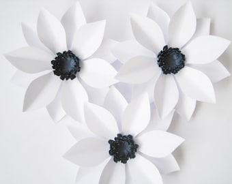 White Flower Wall Decor set of 8 white paper flowers wall paper flower big paper