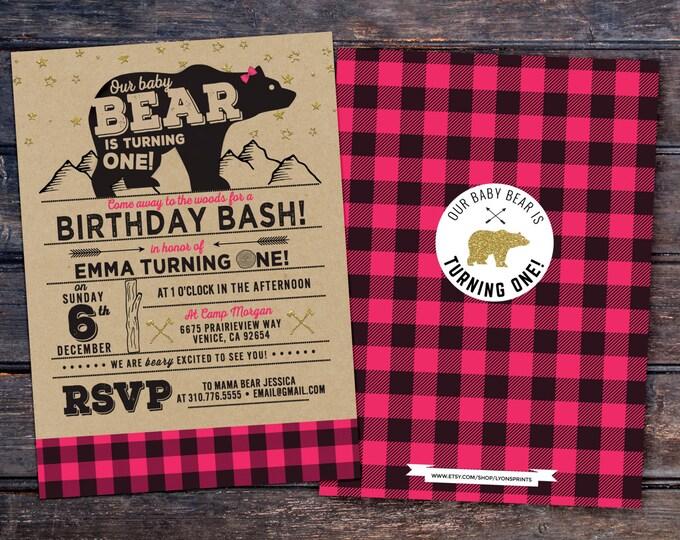 ANY AGE,Lumberjack birthday Invitation //  Buffalo Plaid Woodland Invitation // Lumberjack Invite //  Bear , Moose, twins birthday