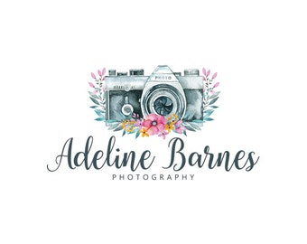 Premade logo and watermark watercolor camera logo flowers logo photography logo business logo graphic design