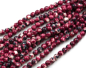 Gorgeous Aggie Maroon Jade, High Quality in Smooth Round- 6mm, 8mm, 10mm, 12mm