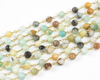 Natural Faceted Round Amazonite Rosary Chain by the Foot. 8mm gold Wire.