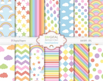 Pastel Rainbow Digital Paper Set - 14 Digital Papers with rainbow patterns, chevron, stripes, clouds, stars - Scrapbooking, graphics, cards
