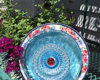 Blue glass yard art flower