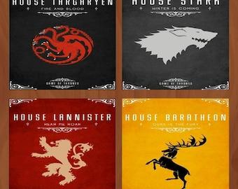 Handmade Ceramic Coasters - Game of Thrones Houses - Set of 4 - Stark - Lannister - Baratheon - Targaryen