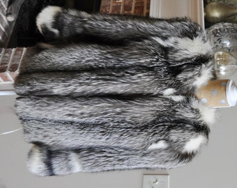 Beautiful Genuine Silver Fox Fur Jacket, Size 10-12