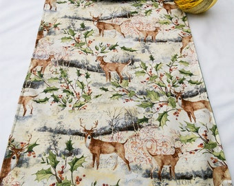 rectangle print  reversible runner tables reversible table runner fits table  seater christmas  table 4to6