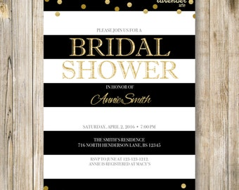 BLACK & GOLD BRIDAL Shower Invitation, Black and White Wedding Shower Invite, Modern Gold Glitters Couples Shower, Bridal Shower Printable