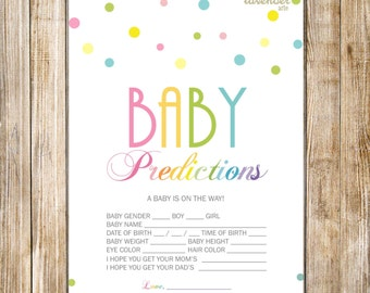 RAINBOW BABY PREDICTION Cards, Rainbow Baby Shower Game, Digital Baby Predictions, Gender Neutral Sprinkle Game, Digital Instant Download