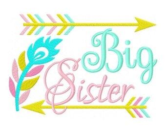Big sister feather embroidery Design dst, exp, hus, jef, pes, sew, vip, vp3, Formats Digital INSTANT DOWNLOAD