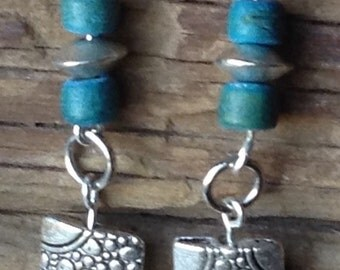 Circle Charm Earrings with Green/Blue Beads