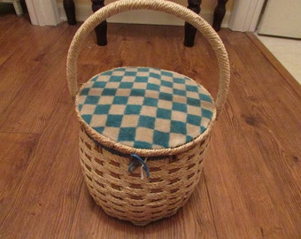 Vintage Woven Wicker Sewing Box - Sewing Box - Wicker Sewing Basket