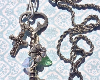 Antique Skeleton Key Necklace Silver Floral Cross & Apple Blossom, Steampunk Jewelry, Wire Wrapped Pendant, Vintage Key Necklace, Handmade