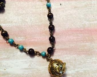 Prayer ball rosary bead necklace~ layering necklace, bridesmaid, birthdays, prayers, beaded necklace, prayer box, locket, necklace, for her!