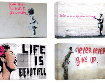 Banksy canvas prints/set of 4 new frames/ printed on canvas and stretched on wooden frames