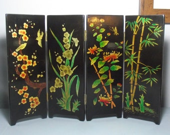 Lacquered Oriental Screen/Japanese Table Divider/Lacquer Wood Screen/Chinese Divider/Japanese Decor/Hollywood Regency/Oriental Accent