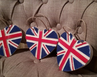 UNION JACK FLAG-Ceramic Heart-Home Decor-British Flag-Hanging heart-Wall Sign-Decor-Pottery Heart-Family Home-uk-London Gifts-Great Bratain
