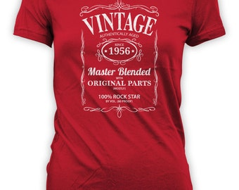 Vintage Whiskey Label Birthday Shirt Born 1956 - Celebrating 60th Birthday, Gifts for Him, Gifts for Grandpa, Gifts for Dad Bourbon CT-1045